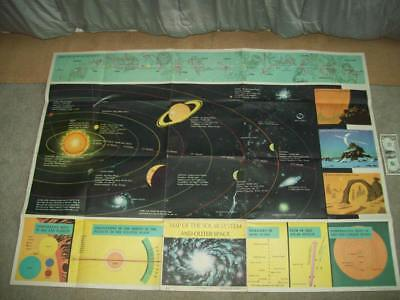 vtg MAP OF THE SOLAR SYSTEM & OUTER SPACE 1960 HUGE 48 X 35 ASTRONOMY sun moon