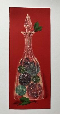 Vintage Norcross Christmas Card Glass Vase Bulb Ornament Jar Glitter Pink Bottle