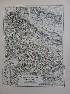 1901 Victorian Map India North Western Provinces Oudh & Nepal