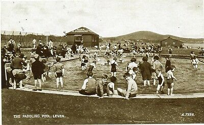 UK Leven - Paddling Pool old sepia postcard