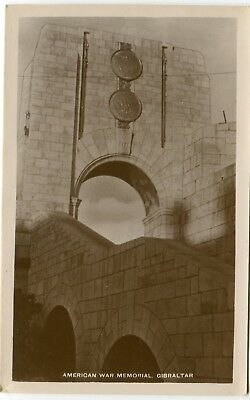 UK Gibraltar - USA War Memorial old uncommon view real photo sepia postcard