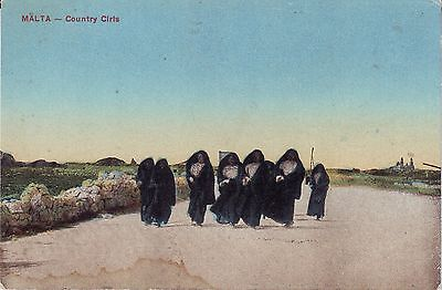 UK Malta - Country Girls in Faldetta 1926 used not mailed postcard