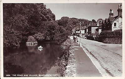 UK Bonchurch IOW - Pond and Village 1955 Ventnor cover real photo postcard