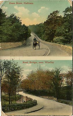 UK Padiham - Dean Brow and  Whalley - Read Bridge 1907 double vignette postcard