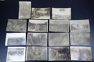 LOT OF GERMAN RPPCs PHOTOS MACHINE GUN BUNKER TRENCHES AA CHAMPAGNE OBS BALLOON