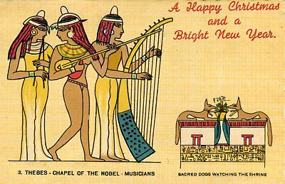 Egypt Happy Christmas and Bright New Year old vintage postcard