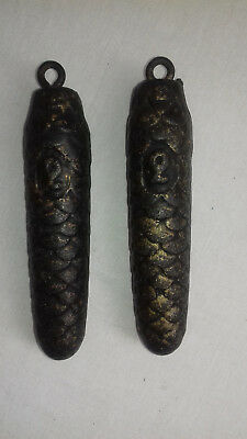 "PAIR OF HEAVY 2 lB+ OR 900grammes EACH & 6"" IN LENGTH  CUCKOO CLOCK WEIGHTS."