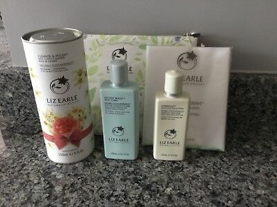 Liz Earle rose and cedrat cleanse & polish,skin tonic,eyebright with bag