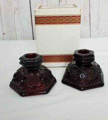 Avon 1876 Cape Cod Ruby Red Glass Set of 2 Candlestick Holders NIB New in Box