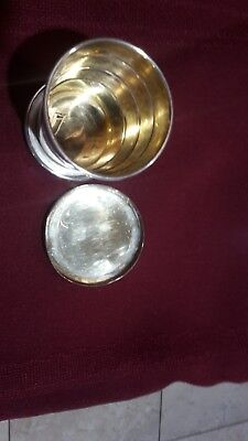 """Sterling Silver Collapsible Drinking Cup Gilded Interior, 2 1/2"""" H, 2"""" W"""