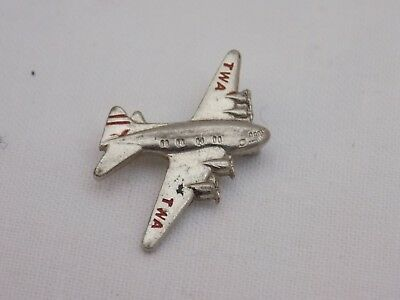 Vintage TWA Airlines Airplane Aviation Flight Attendant Pin Brooch