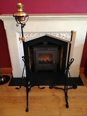 Antique Oil Lamp Stand & Other Adjustable Iron Gothic Old Brass Vintage.
