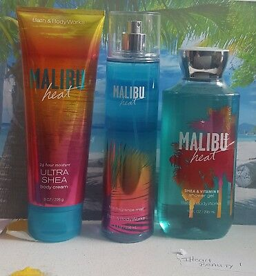 bath and body works malibu heat shower gel fine fragrance mist body cream