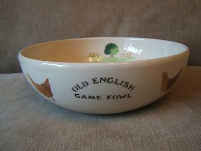ASTON studio POTTERY spongeware BOWL chickens OLD ENGLISH GAME FOWL Baughton