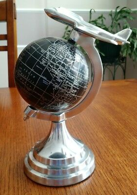 """Black & Silver Globe With Metal Airplane Government Of India 2008 9 1/2"""" Tall"""