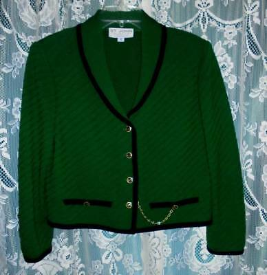 "St. John by Marie Gray Black Trim Green Santana Knit Jacket 10/40""Bust"