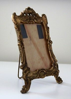 Heavy Ornate Victorian Style Brass Vintage Antique Gold Metal Picture Frame