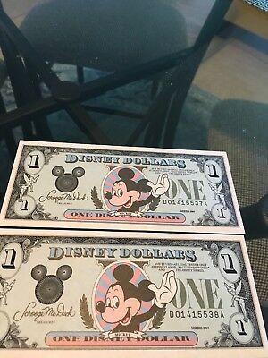 Set of two 1989 Series  DISNEY DOLLAR MICKEY MOUSE $1 NOTE