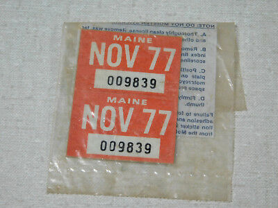 1977 Maine passenger car license plate sticker pair
