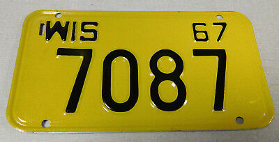 1967 Wisconsin motorcycle license plate