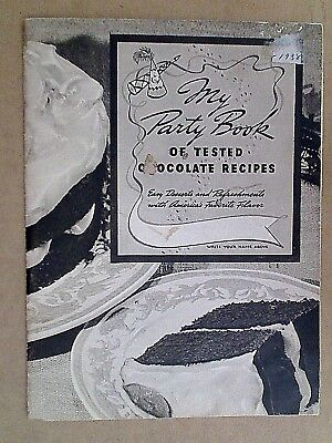 Vintage Cook Books - 1938 Part Book Tested Chocolate Recipes Cakes & Frostings
