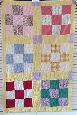 Vintage Antique Old Nine Patch Yellow Early 1900's  Prints Quilt Piece #1