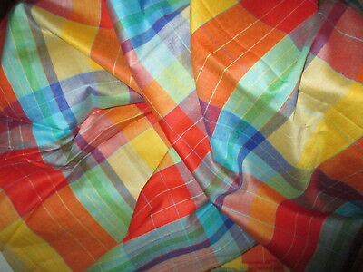 VINTAGE 70's MULTI COLORED PLAID COTTON FABRIC ~ BRIGHT COLORS ~ 3 YARDS x 56""