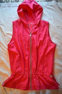 Women's NordicTrack Hooded Sleeveless Running Exercise Shell Jacket Wind Size L