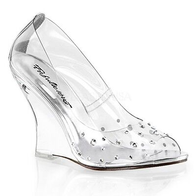 c88bf85dc2cc Fabulicious LOVELY-420RS Women s Clear Peep Toe Wedge High Heel Rhinestone  Pumps