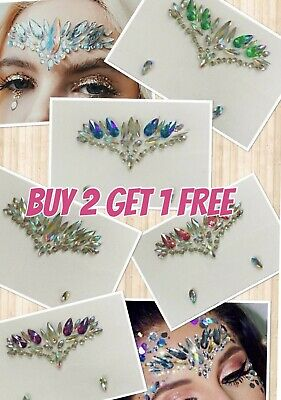 Festival Face Gems Jewels Crystals One Piece Self Adhesive Stick On Pre-Glued