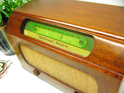 Vintage 1947 Art Deco AM Tube Radio National Union 40s 50s MCM Works Great!