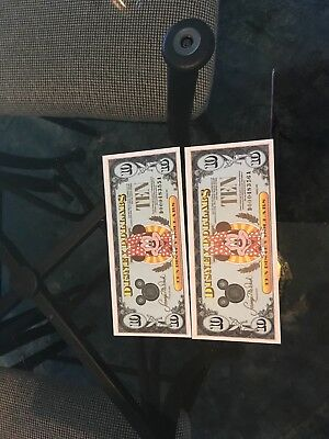 1990 Minnie Mouse $10 Disney Dollars (2) - D00048355A.     D0048356A