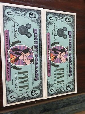 Disney Dollars 1988 D $5 Five Dollar Goofy Epcot Cinderella Castle Uncirculated