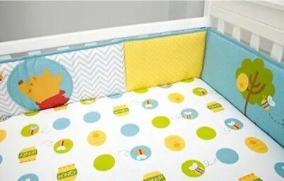 Disney Baby Winnie The Pooh's Play Day Secure-Me Crib Bumper 4 Pc ~ New !!!