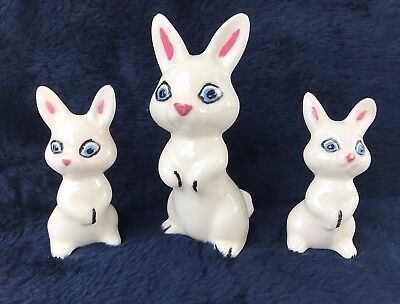 Vintage Ceramic Lot Of 3 White Bunny Rabbit Figurines ~ Mom & Babies?? VG++