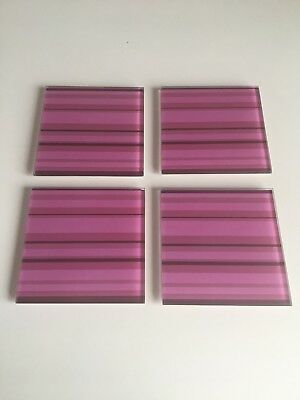4 Four Glass Coasters Coaster Set Pink Stripe Striped Cup Mug Mat Placemat