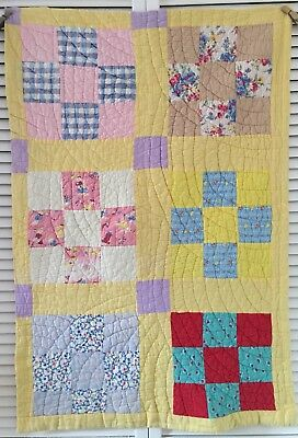 Vintage Antique Old Nine Patch Yellow Early 1900's  Prints Quilt Piece #4