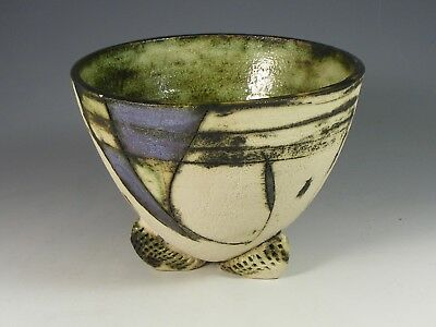 Three Footed Studio Pottery Bowl - Signed