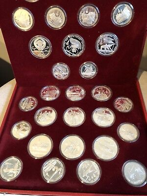 1980 Russian Moscow Olympic 28 Silver Coin Proof Set Leather Case And All COA's