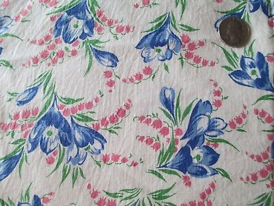 Vintage Opened Feedsack Blue and Pink Flowers