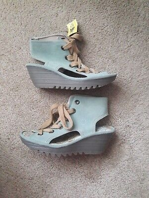 Fly London Ylfa Wedges ($140) Light Blue and green Mixed  Size 40
