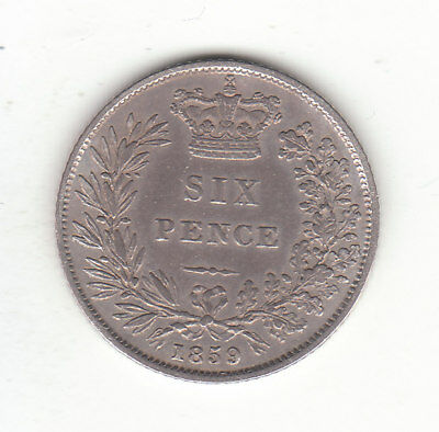 1859 Great Britain Queen Victoria Silver Sixpence.  VF