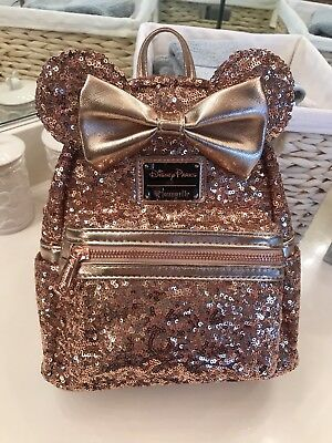 Disney Parks Minnie Mouse Rose Gold Sequin Loungefly Backpack Purse Bag SOLD OUT
