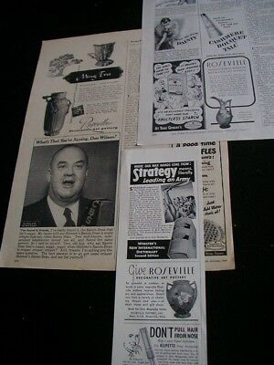 lot of 3 roseville pottery magazine print ads 1943 1945 1949 great variety