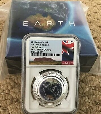 2018 Australian Domed The Earth And Beyond Colorized 1 oz Silver NGC PF70 FR