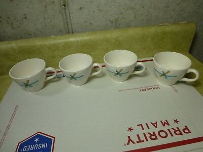 4 Salem North Star Tea Cups - White with Logo