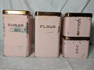 Vtg RETRO PINK & Copper 4 Pc. Canister Set w Lincoln BEAUTYWARE  Mid Century