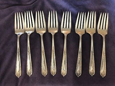 Antique sterling silver Alvin Della Robia salad forks, set of eight