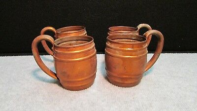 LOT 4 Vintage CAVALIER by National Silver 100% COPPER Moscow Mule Barrel Mugs
