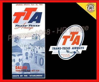 TRANS TEXAS AIRWAYS 1954 AIRLINE TIMETABLE SCHEDULE...Plus Luggage Label